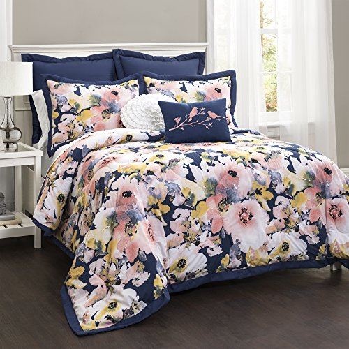 Lush Decor Lush Décor Floral Watercolor 7 Piece Comforter Set, Full Queen, Blue and Pink