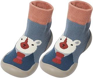 Fnsky Calcetines de bebé pantuflas calcetines, antideslizantes y cálidos calcetines de piso calcetines de invierno lindos zapatos de calcetín para bebé niño niña, azul, 26-27