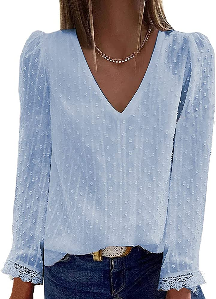 Fashion Women Tunic Tops Casual Solid Blouse Tops Loose Long Sleeve V-Neck Lace T-Shirts Tops