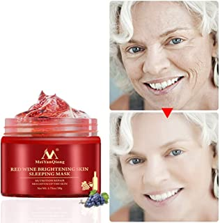 RedDhong Red Wine Sleeping Mask, Moisturizing Anti-wrinkles, Improve Fine Lines & Dry Skin, Reduce Pigmentation, Brighten Skin Tone, Hydrating Facial Mask