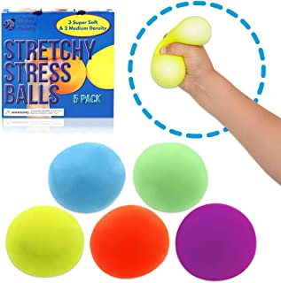 Stretchy Stress Balls for Kids & Adults! Stress Ball Set with 3 Super Soft Squishy Balls + 2 Medium Density Squeeze Balls for Anxiety Relief | Fun Fidgets for Children, Great Gift for Girls & Boys!