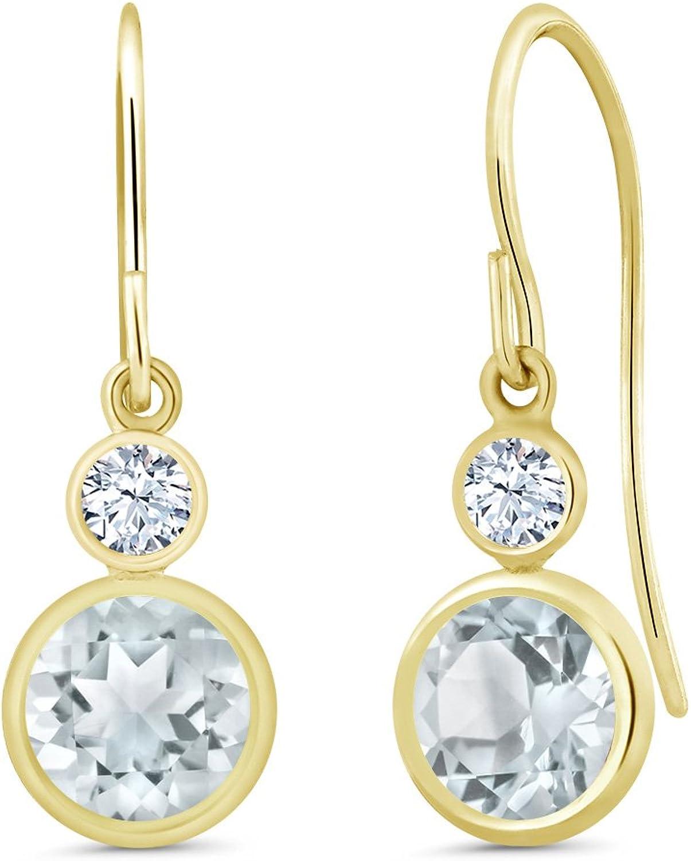 1.72 Ct Round Sky bluee Aquamarine 14K Yellow gold Earrings