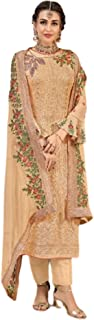 Golden Indian Musim Women Georgette Embroidered Straight Pakistani Style Party Wear Suit 5816
