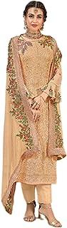 بدلة نسائية من Golden Indian Musim مطرزة من قماش الجورجيت مستقيم باكستاني طراز 5816