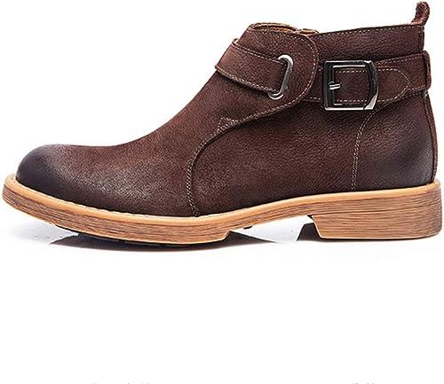 Jiahe Martin botas Retro Chelsea de los hombres botas Cortas Botines Zapaños con Hebilla de Moda-marrón,43
