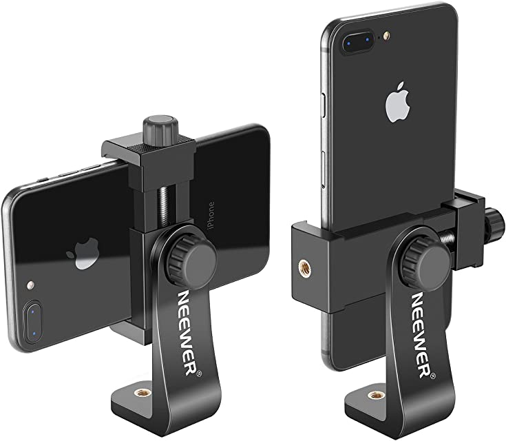 Neewer Soporte para Smartphone Vertical con Montura de Trípode de 1/4 Pulgada Adaptador de Trípode para iPhone11/11 Pro/11 Pro MAX Samsung Galaxy S10+10 y Otro teléfono de 19-39 Pulgadas
