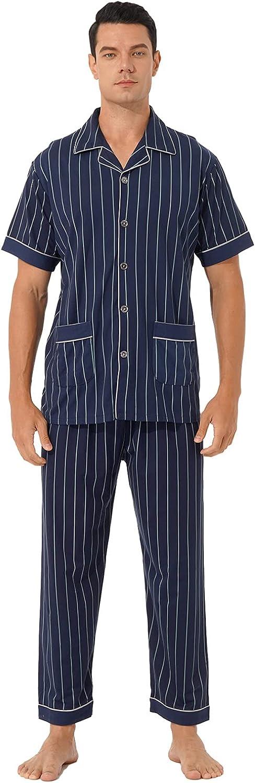 ranrann Mens Cotton Plaid Sleepwear Short Sleeve Top & Bottom Pajama Set Loungewear Sleepwear