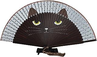 ROSENICE Damen Handfächer Fächer Sommer süße Katze Seide Bambus Hand Fan FaltenCoffee