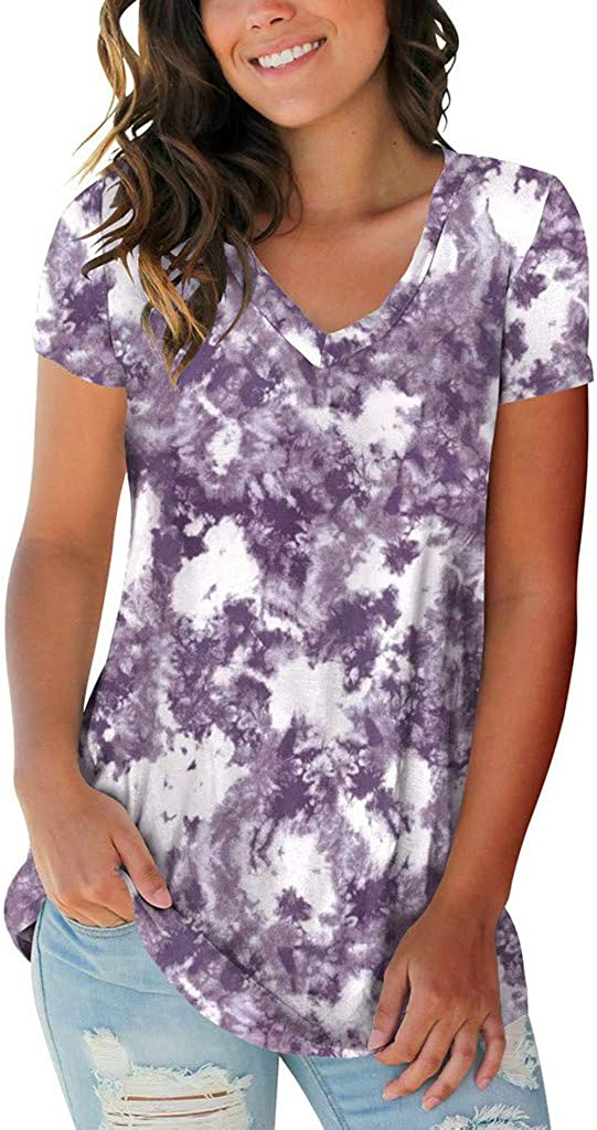 AODONG Summer Tops for Women, Womens Summer Tie Dye Short Sleeve T Shirts Casual Loose Basic Tee Tops and Blouses Shirt