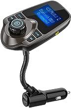 Nulaxy Bluetooth Car FM Transmitter Audio Adapter Receiver Wireless Handsfree Voltmeter Car Kit TF Card AUX 1.44 Display – KM18 Coffee