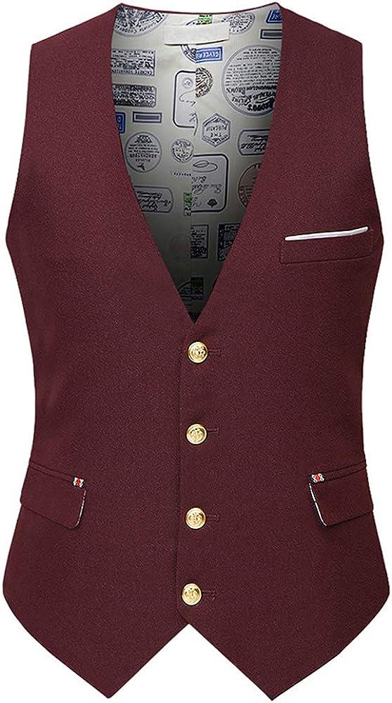Michealboy Men's Black 4 Button Dress Vest Black for Suit Separate or Tuxedo
