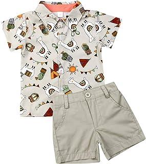 Lamuusaa Toddler Kid Baby Boys Short Sleeve Tops T-Shirt Button Down Shirts Shorts Pants 2Pcs Summer Outfits 1-6Y