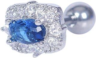 Gem Titanium Labret Monroe Lip Tragus Nose Ear Earrings Piercing Ring Bar Stud (Styles - Oval Blue Diamond)
