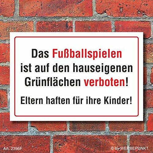 Schild Fußballspielen verboten, 3 mm Alu-Verbund 300 x 200 mm