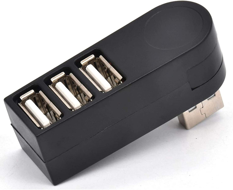 3 Ports USB 2.0 Rotatable HUB, USB to 3USB Converter 90° 180° 270° Degree for PC Laptop Notebook Tablet (Black)