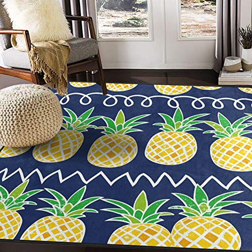 ALAZA Cartoon Pineapple Fruit Summer Retro Area Rug Rugs for Living Room Bedroom 5'3 x 4'