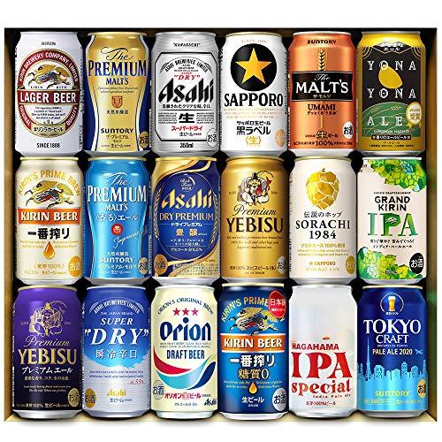 五大 国産プレミアムビール 飲み比べ ギフト 350ml 18本詰め合わせ 夢の競演 プレゼント 贈り物 ビールセット サッポロ サントリー アサヒ キリン クラフトビール IPA RSL (最新弾)
