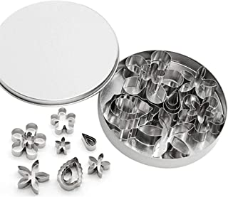 KeyZone 12 Pcs Small Stainless Steel Flower & Leaf Cookie Cutter Set Fondant Biscuit Cutter Cake Molds DIY Tools