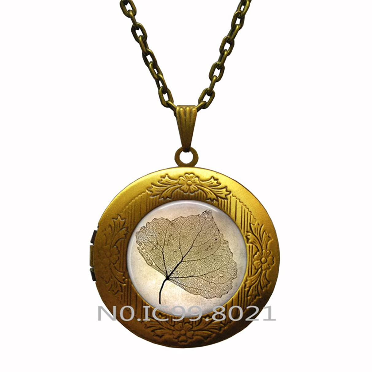 maoqunza Autumn Leaf Silhouette Ginko Leaf - Autumn Jewelry - Botanical - Botany Jewelry - Flora - Transparent Leaf Locket Pendant - Fall Nature Jewelry.XT154