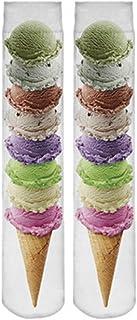 Doxi Supermall Men's Harajuku Ice Cream 3d Print Art Multicolor Long Socks