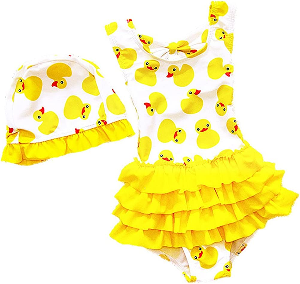 BEFULY Baby Girls One Piece Summer Swimsuit Cute Yellow Duck Hat