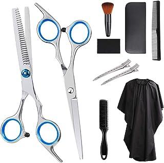 Feltom Hair Cutting Scissors Set, 10 PCS Professional Hairdressing Scissors Kit, Barber Scissors Kit, Thinning Shears, Hair Razor Comb, Clips, Cape, Shears Kit in Leather Case for Home, Barber Salon