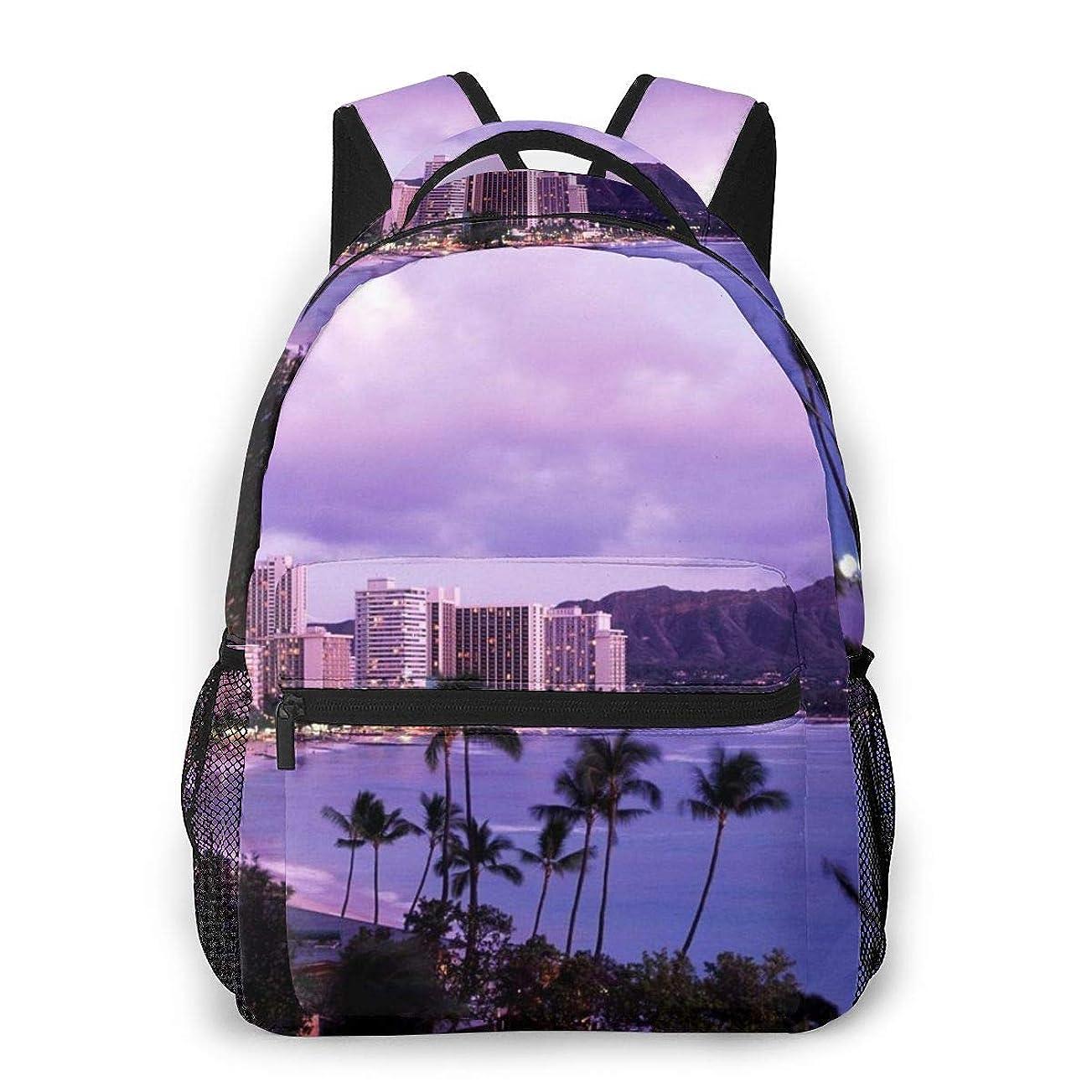 前進リークモーターZetena リ ュックリュックサック ハワイ 風景 バックパック デイパック おしゃれ 旅行 通学 通勤 15.6インチラップトップ収納可能 アウトドア 遠足 出張 男女兼用
