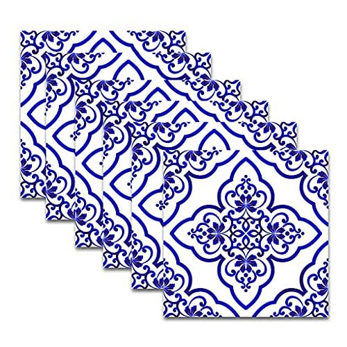 EPEXNYGD 30 Piezas 20x20cm Azulejos autoadhesivos Papel Tapiz Adhesivo para Cocina baño Azulejos de Transferencia de Azulejos de Pared Pegatina Decorativa Efecto de cerámica Azul 05
