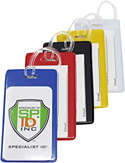 5 Pack - Slim and Sturdy Flexible Backpack & Airline Luggage ID Bag Tags - Business Card Holders - with Secure Plastic Worm Loop Straps by Specialist ID (Assorted Colors)