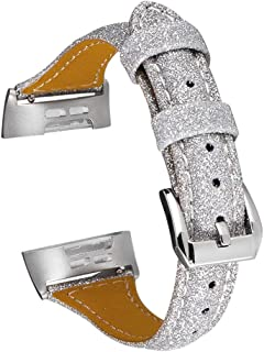 EEweca Leather Bands for Fitbit Charge 3/ Charge 3 SE Wristband Replacement Glitter Slim Genuine Leather Strap, Silver