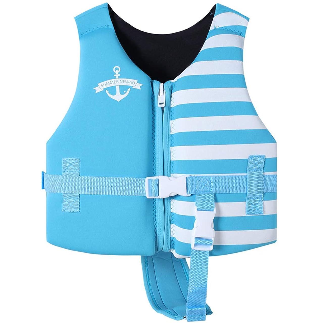 百万思いつくやりすぎ子供用ライフジャケット - CE認定済幼児フローティングベストスイミングエイド セーラープリント 救命胴衣 スイミング補助具 股ベルト付きバックル