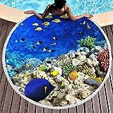 O5KFD&8 - Telo mare con pesciolini di mare blu oceano, misura grande, da spiaggia, senza sabbia, 59 pollici, per uomini, donne, bambini, bianco, 150 cm