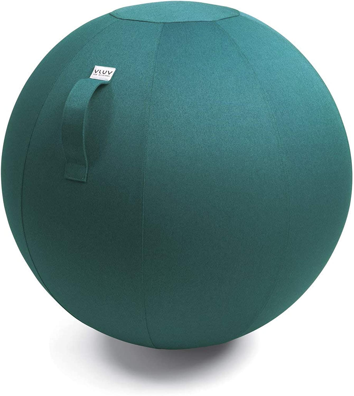 VLUV LEIV Stoff-Sitzball, ergonomisches Sitzmbel für Büro und Zuhause, Farbe  Dark Petrol (blau-grün),  70cm - 75cm, Mbelbezugsstoff, robust und formstabil, mit Tragegriff