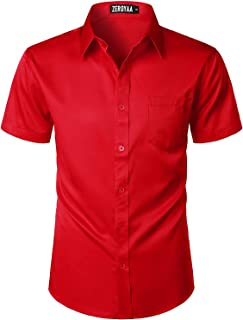 PARKLEES Mens Casual Urban Stylish Slim Fit Short Sleeve Button Up Dress Shirt with Pocket