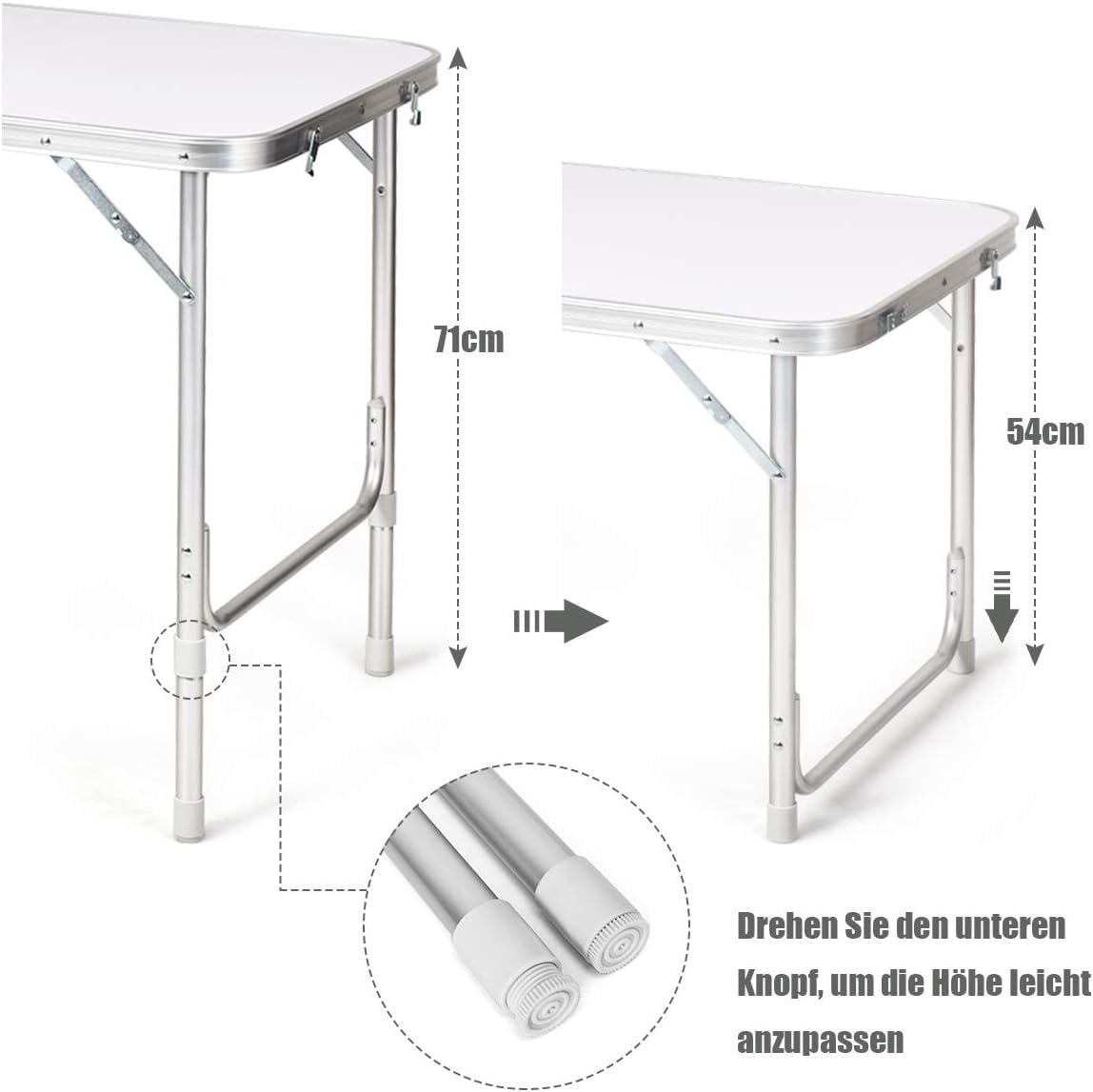 Gartentisch Picknicktisch Campingschrank Reisek/üche Klapptisch Alu H/öhenverstellbar von 53-70cm COSTWAY Campingk/üche mit gro/ßem Stauraum