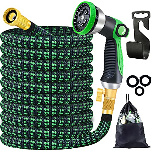 """DERVELL Expandable Water Hose 100ft,Flexible Garden Hose with 10 Modes Watering Spray Nozzle/Strongest Fabric/4 Layers Latex/3/4""""Solid Brass Fittings,Retractable Outdoor Yard Hose Best Watering Equip"""