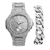 Bling-ed Out Cuban Bracelet with Oblong Silver Iced Look Hip Hop Watch - 8475BC Cuban Silver