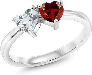 Gem Stone King 0.93 Ct 2 Heart Shape Sky Blue Aquamarine Red Garnet 925 Sterling Silver Ring