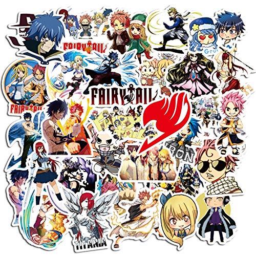 PMSMT 50 Stück Anime Aufkleber Fairy Tail Wendy Natsu Dragneel Graffiti Skateboard Illustration Wiederholbares Gepäck wasserdichte Aufkleber