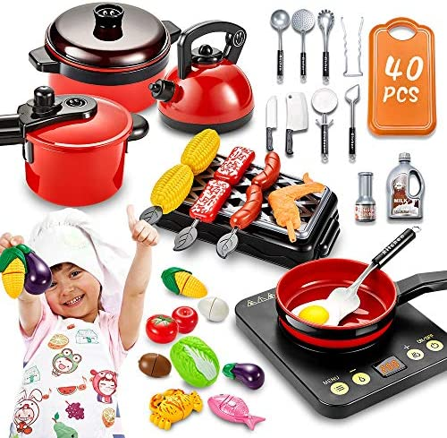 pereberi 40 PCS Kids Kitchen Pretend Play Toys Cooking Set with Cookware Pots and Pans Set BBQ product image