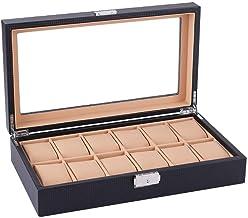 GPWDSN Horloge Box Organizer Kussensloop - 12 Slot Premium Display Cases met ingelijst glazen deksel Secure Lock voor mann...