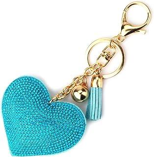 624bb677a Elesa Miracle Girl Women Love Heart Tassel Keychain, Purse Bag Charm, Handbag  Accessories,