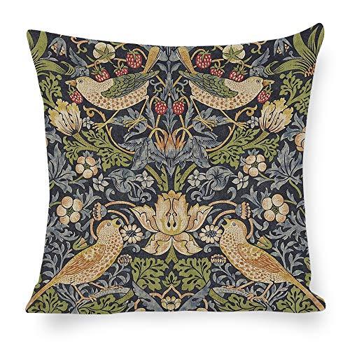Qui556 Strawberry Thief Throw Pillow William Morris Pillow Cover William Morris Gift 18x18 Belgian Tapestry Cushion Gobelin Pillow