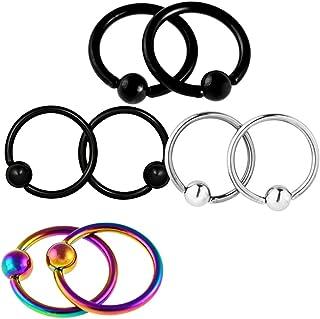 Lovoski 4 Pairs/Pack Stainless Steel Nose Ear Hoop Rings Jewelry 16G