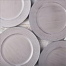 EHC Platzteller, rund, 33 cm, gehämmert, Grau, 4 Stück