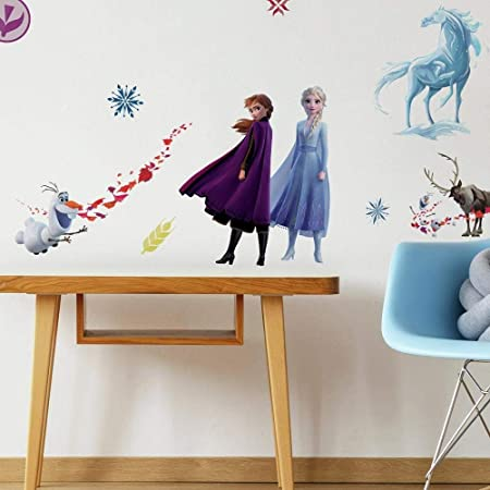 RoomMates - RMK4075SCS Disney Frozen 2 Character Peel and Stick Wall Decals   21 Wall Stickers   Elsa, Anna, Olaf, Kristoff & Sven