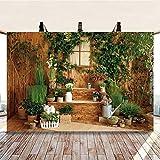 Plantas Verdes, escaleras, Pared de Madera, Interior, Fondo, fotografía, Amantes, decoración del hogar, Personalizado, Fondo A1 2.7x1.8m