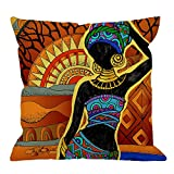 HGOD DESIGNS African Square Pillow Cushion Cover,African Women Cotton Linen Cushion Covers Home Decorative Throw Pillowcases 18x18inch,Yellow,Brown