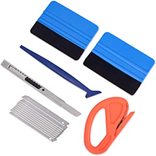 Vehicle Vinyl Wrap Window Tint Film Tool Kit Include 4 Inch Felt Squeegee, Retractable 9mm Utility Knife and Snap-off Blad...