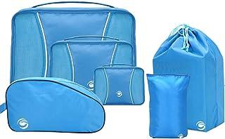 6 مجموعات من صناديق التعبئة، منظمات تغليف أمتعة السفر مع حقيبة أحذية وحقيبة غسيل (أزرق)